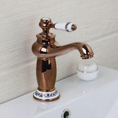 Rose Gold Bathroom Deck Mount Basin Mixer Hot/&Cold Faucet Single Lever Wash Taps
