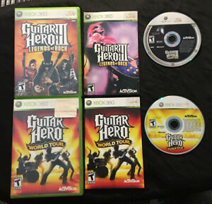 Guitar-Hero-III-3-Legends-of-Rock-amp-World-Tour-Bundle-Lot-Complete-Xbox-360