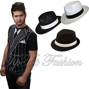 New Adults 1920/'S Ganster T-Shirt Stripy Gangster Pimp Hat Fancy Dress Outfit