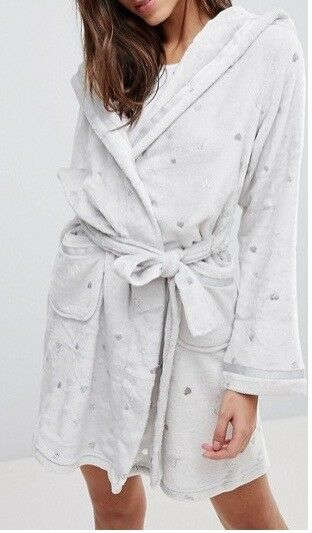 LIPSY LADIES GREY WITH FOIL HEART DESIGN SUPERSOFT ROBE DRESSING GOWN UK SZ 8-14