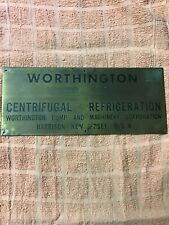 Worthington Steam Engine Centrifugal Pump Brass Plate Builders Plaque