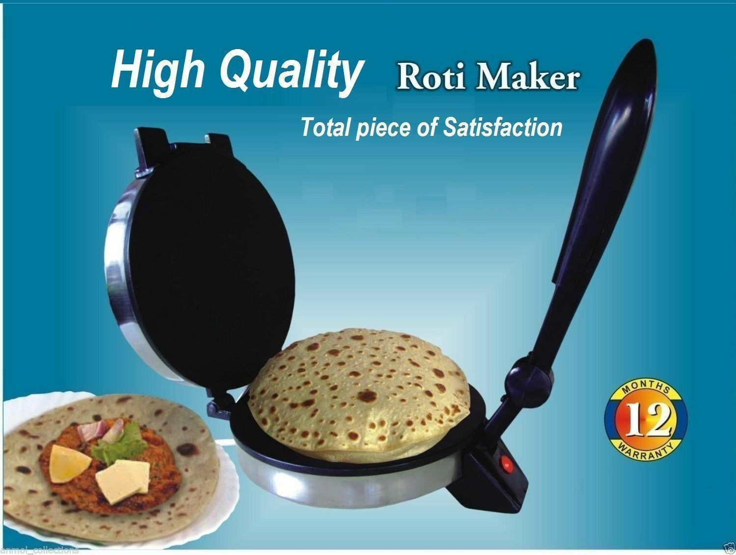 Bonne QUALITY rougei Maker Indian Electric, Chapati, Flat Pain, Tortilla, Papad Maker