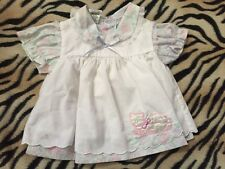 Vintage White Pink Pastel Dress Smock Kitty Flower Baby Girls Clothes sz Newborn