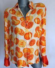 Vintage Orange Fruit SILK Women's Top Blouse Shirt S/M Shoulder Pads White