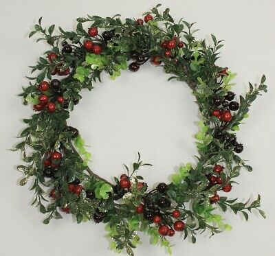 GISELA GRAHAM CHRISTMAS TWIG NOEL HOLLY WREATH WITH BUTTONS d:25cm