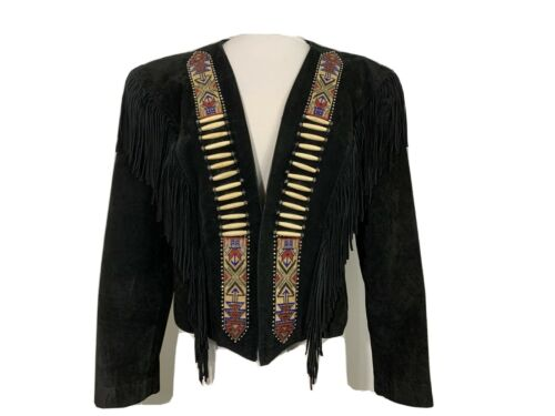 Diamond Leathers Beaded Fringe Crop Jacket Size 10