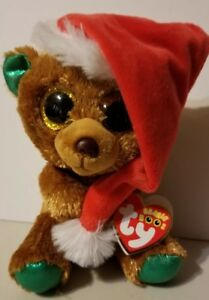 Ty Beanie Boo Nicholas The Bear w Santa Hat 6
