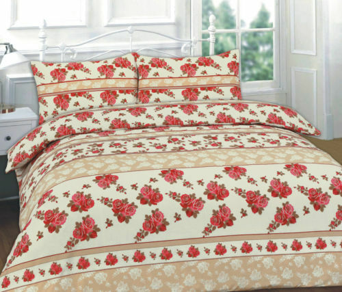 Complete Duvet cover Set with Valance Sheet 4 Pcs Roses Single Double King,