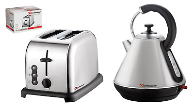 1.8L Electric Cordless Kettle 2 Slice Wide Toaster Matching Kitchen Set Silver