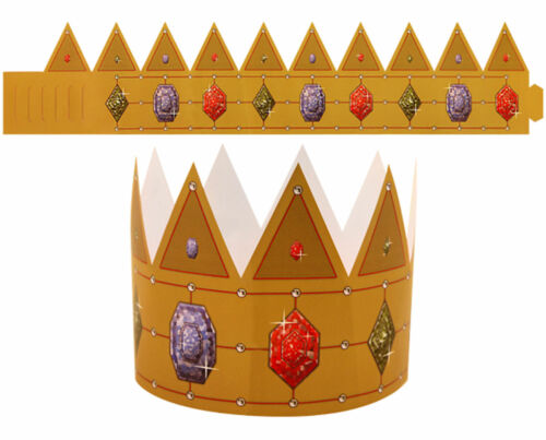 Kids King Queen Paper Crown Hats Dressing Up Party Bags Fancy Dress 1 5 10