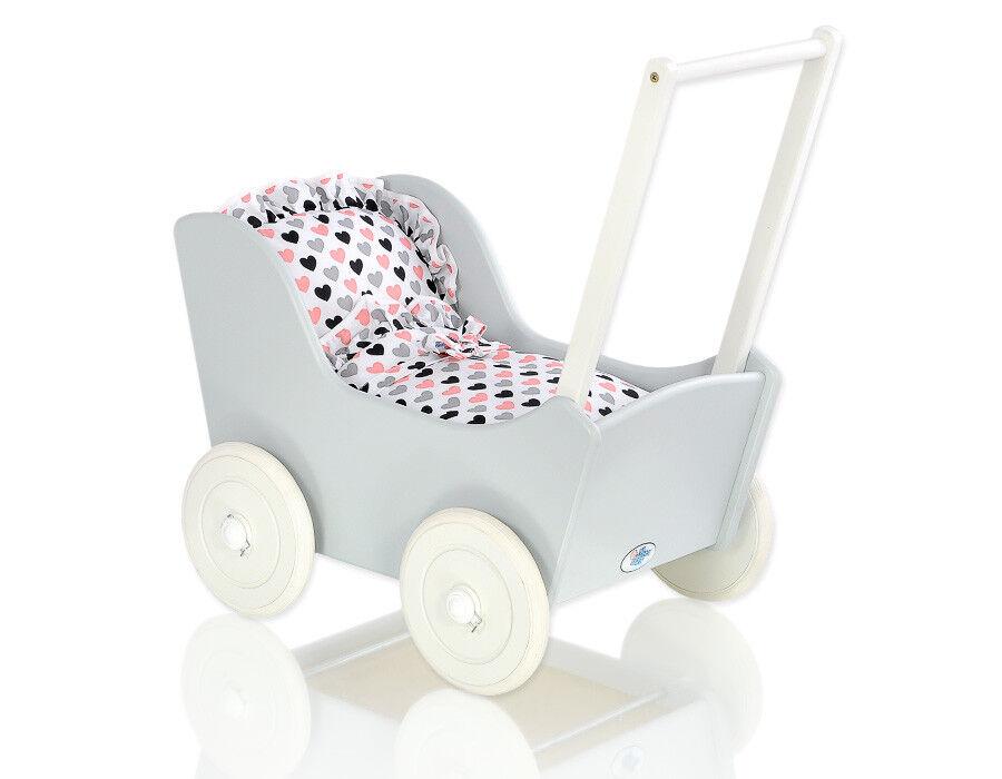 Holz Puppenwagen Mila Farbe grau mit Textilaustattung / 18 Bezugfarben