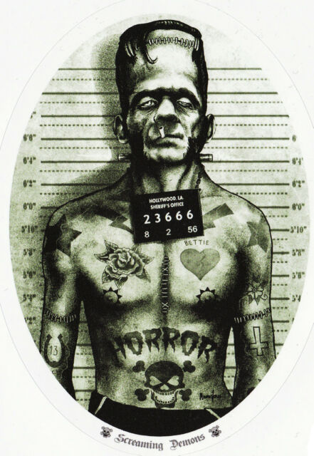 TATTOOED FRANKENSTEIN MONSTER MUG SHOT SKULLS SWALLOWS VINYL OVAL STICKER A6