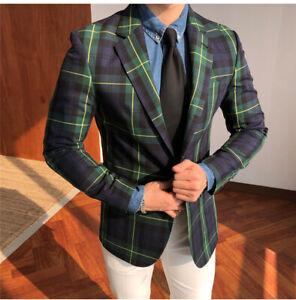 Men-Plaid-Windowpane-Blazer-Jacket-Side-Vent-Formal-Wedding-Party-Tuxedos