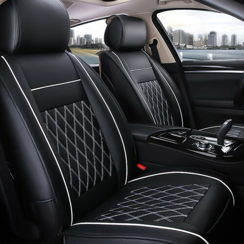 7Pcs Luxury Universal 5 Seat Cover Leather Car Front Rear Cushion Pad Full Set