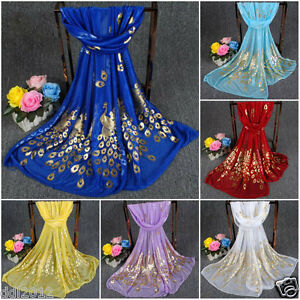 Women-Lady-Fashion-Peacock-Long-Soft-Chiffon-Scarf-Wrap-Shawl-Stole-Scarves-New