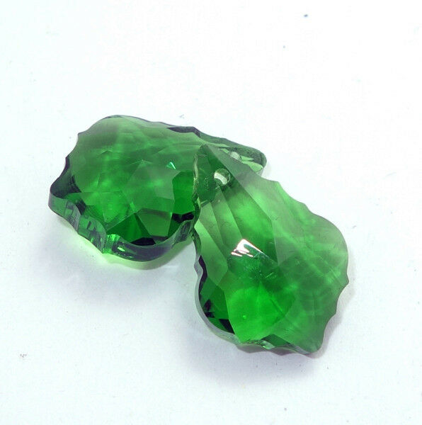 2pcs crystal elements baroque pendant glass Leaf-like loose Bead 22x15mm #6090