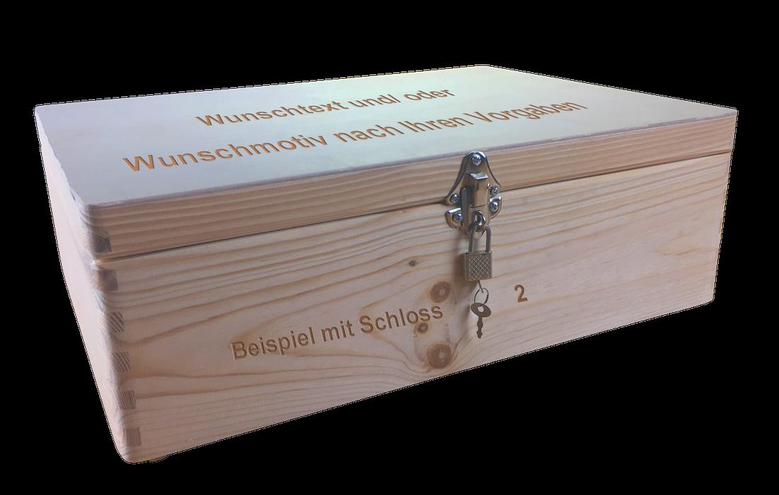 Abschließb. legno cassa di legno mis. 2 Pino unbeh. unbeh. unbeh. incl. incisione laser desiderio n. 6db28b