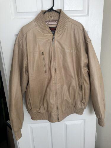 Vintage Fubu Leather Letterman Bomber Jacket XL