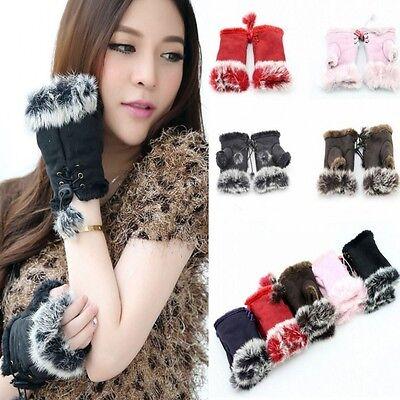 1Pair Women Real Rabbit Fur Hand Wrist Warmer Fingerless Winter Gloves 9 Colors