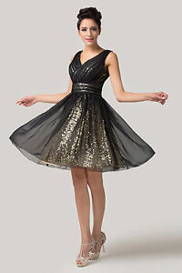 Sexy-Sequins-V-neck-Backless-Short-Cocktail-Prom-Ball-Evening-Dance-Party-Dress