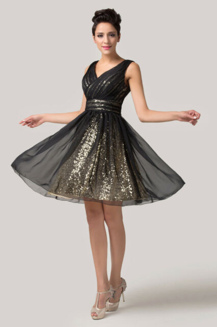 Sexy Sequins V-neck Backless Short Cocktail Prom Ball Evening Dance Party Dress