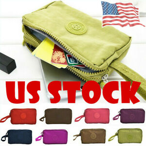 US-Travel-Phone-Bag-Short-Wallet-Three-Layer-Zipper-Purse-Big-Size-Purse-Cases