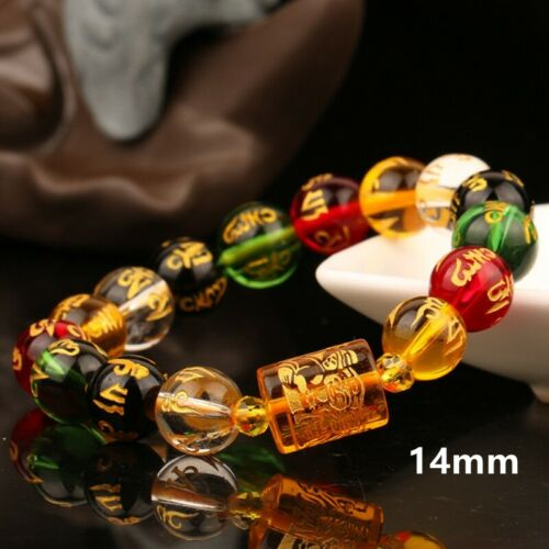 Natural Citrine Three Faces Fortune Lucky Handball Beads Bracelet Men women