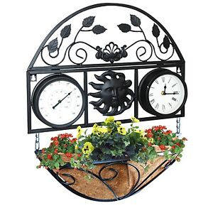 TRADITIONAL METAL WALL MOUNTED CLOCK amp THERMOMETER HANGING BASKET GARDEN PLANTER - Leicester, United Kingdom - TRADITIONAL METAL WALL MOUNTED CLOCK amp THERMOMETER HANGING BASKET GARDEN PLANTER - Leicester, United Kingdom
