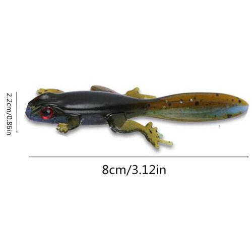 "15PCS Soft Silicone Fishing Lure Wobblers Bass Frog Bait 3.15/""-8cm//3.5g Lifelike"