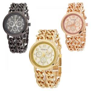 Orologio-Donna-Geneva-modello-Maia-acciaio-oro-nero-cinturino-braccialato-DD