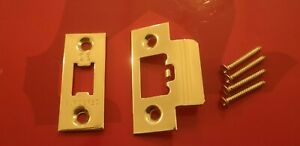 Door Latch  Face Plate for Tubular  Latches polished brass Eurospec.