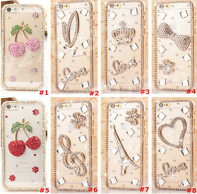 Cute Shine Bling Transparent Clear Crystal Diamond Hard Back Case Cover Skin #9
