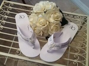 429f650126c34 Image is loading Wedding-Bride-Bridal-Party-Formal-Flip-Flops-personalized-