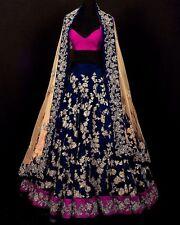 Bollywood Designer Lehenga Choli Wedding Lehenga Ethnic Women Blue Silk Dress
