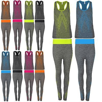 Womens Vest Gym Workout Sports Running Dots Stretch Trouser Active Wear Set