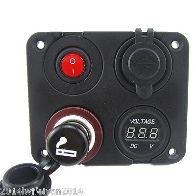 Dual USB Charger + Voltmeter +12V Socket + Switch 4 Hole Panel Marine Car Truck