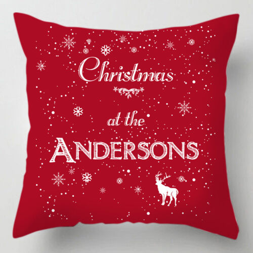 Personalised Christmas at the family name word quote chrismtas cushion pillow