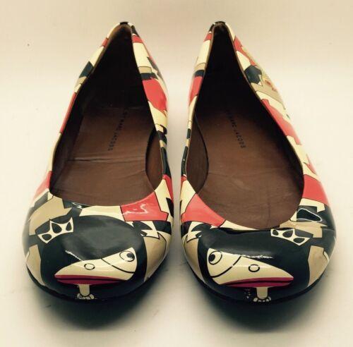 Marc Art Rare Red Jacobs Coated Geometric Ballerina Canvas Italy Black 38 Flats nqYqzwxZr