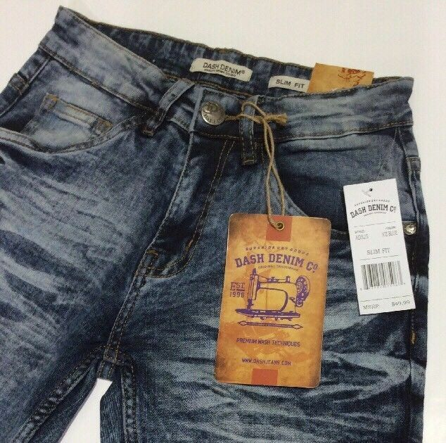 NWT - DASH DENIM Men's SLIM FIT SKINNY AD522-MID bluee WASHED JEANS  -  32 30