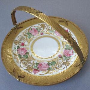 """Antique LIMOGES HP Porcelain 10"""" Plate PINK ROSES Gilt BRONZE Banded Handle Trim"""