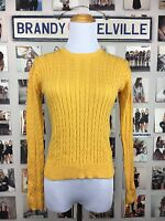 Brandy Melville Sweater Yellow 100% Cotton Crew Neck Cable Knit Size S