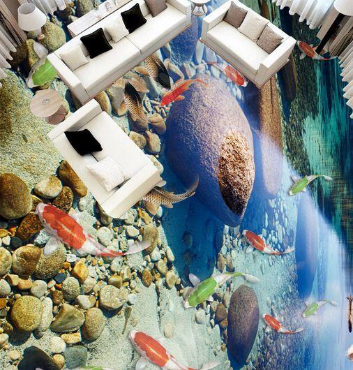 3D piedras Stream Papel Pintado Mural Parojo Impresión de suelo de pescado Calcomanía 5D AJ Wallpaper