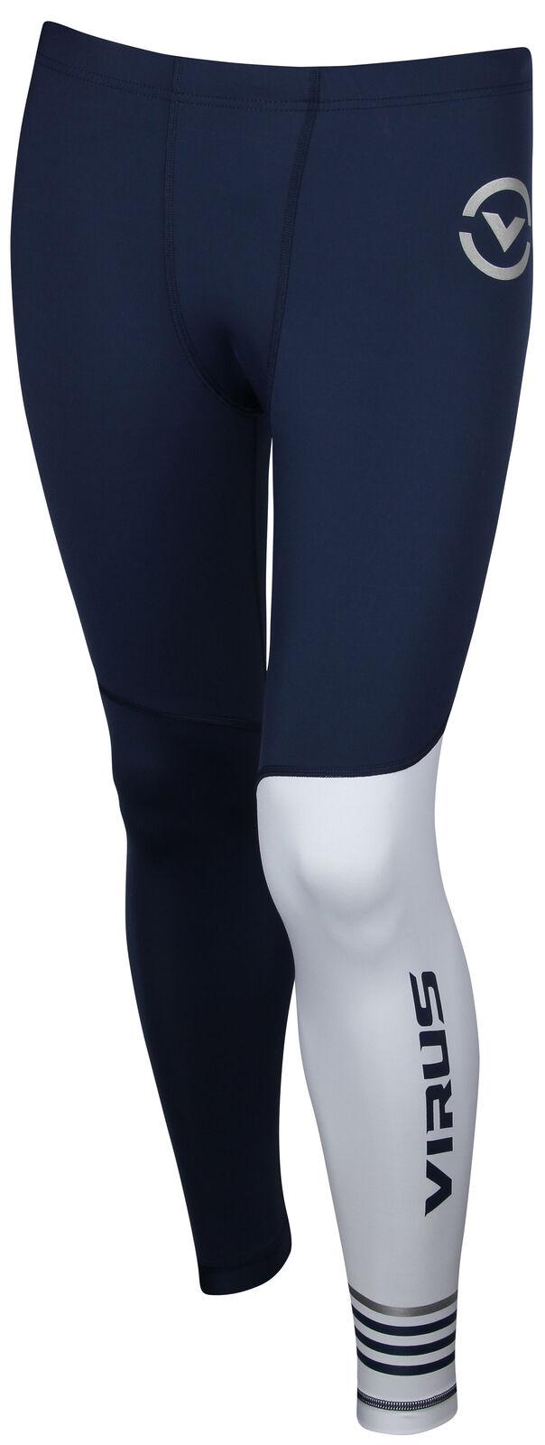 Virus Hombre Rx8 Say Cool Tech Compresión Pantalones Marino Plata