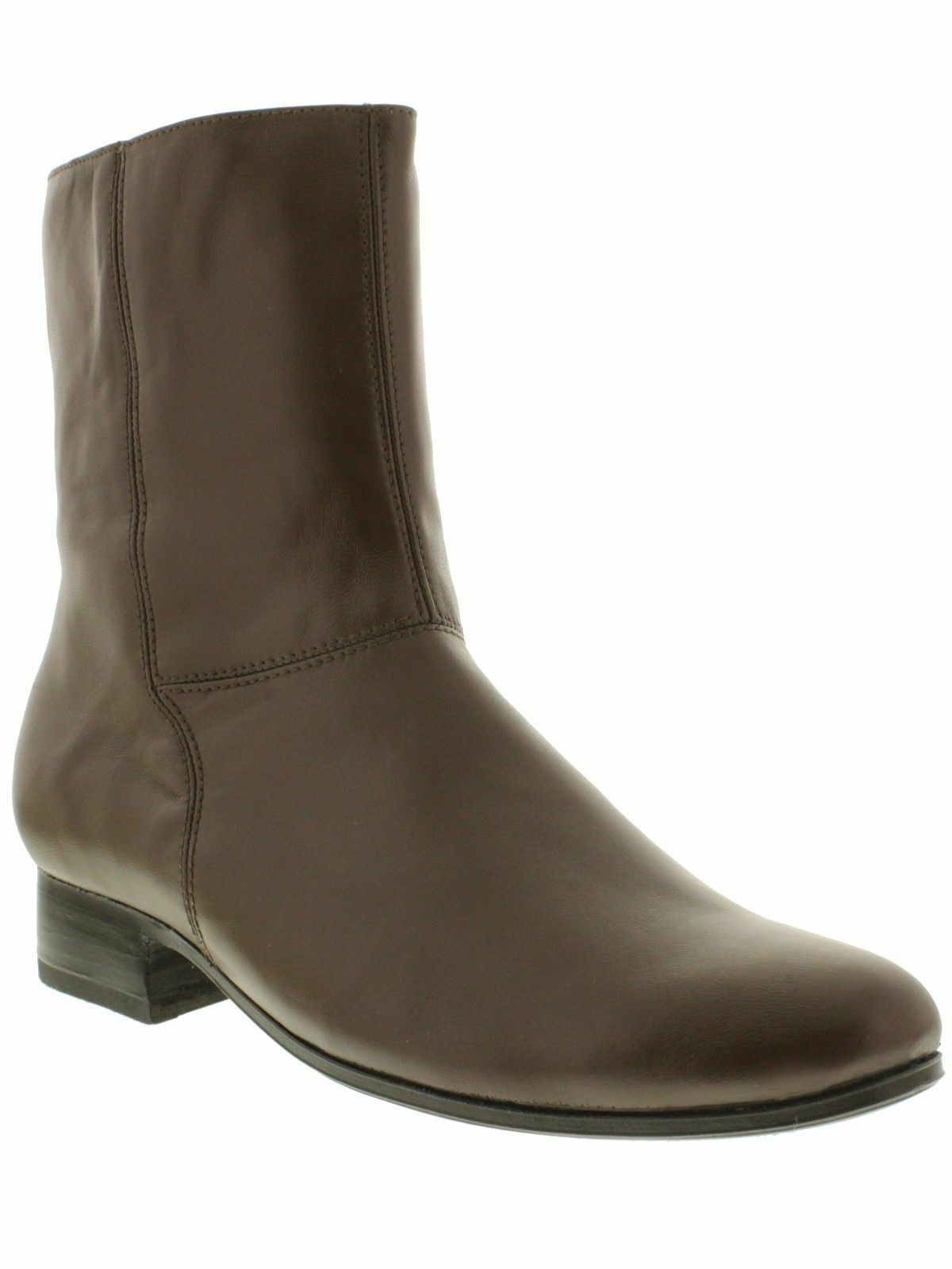 Uomo brown smooth leather ankle boots round zipper dress botin cowboy rodeo