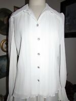 Jackie Jon York Designer White Chiffon Elegant Dress Blouse Sz 10