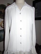 NWT Jackie Jon New York Designer White Chiffon Elegant Dress  Blouse Sz 10