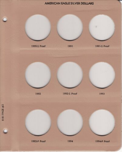 Dansco Replacement Page 8181-2 American Eagle Silver $ w// Proof 1990-S to 1994-P