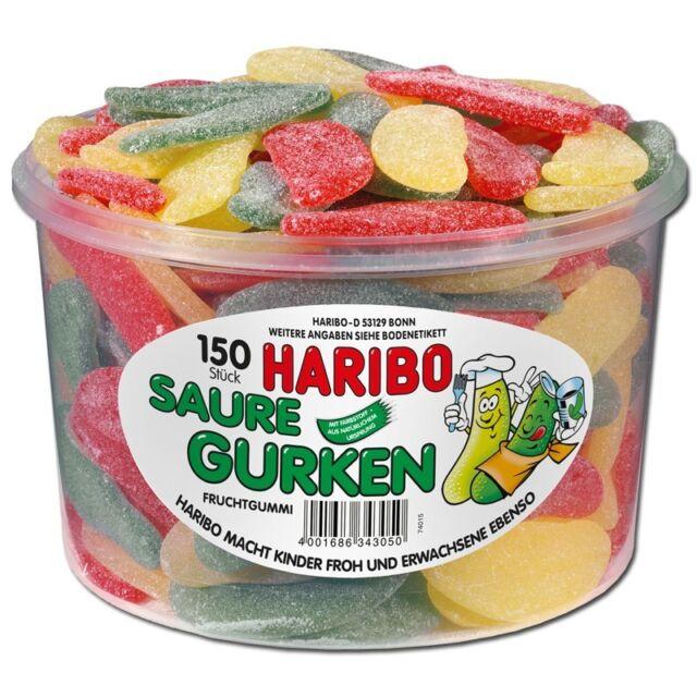 (3,96€/1kg) Haribo Saure Gurken, Fruchtgummi sauer, 150 Stück