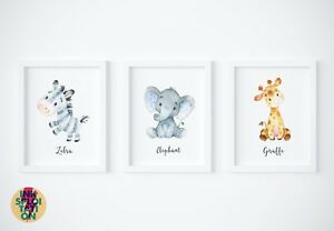 Image Is Loading Set Of Jungle Safari Nursery Watercolour Animals Wall