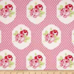 Image Is Loading Tanya Whelan Fabric Material LOLA FRAMES PINK Floral
